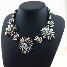 2015 New Fashion Jewelry Necklace For Women Rianbow Color Resin Stone Flower Statement Necklace Charm Alex