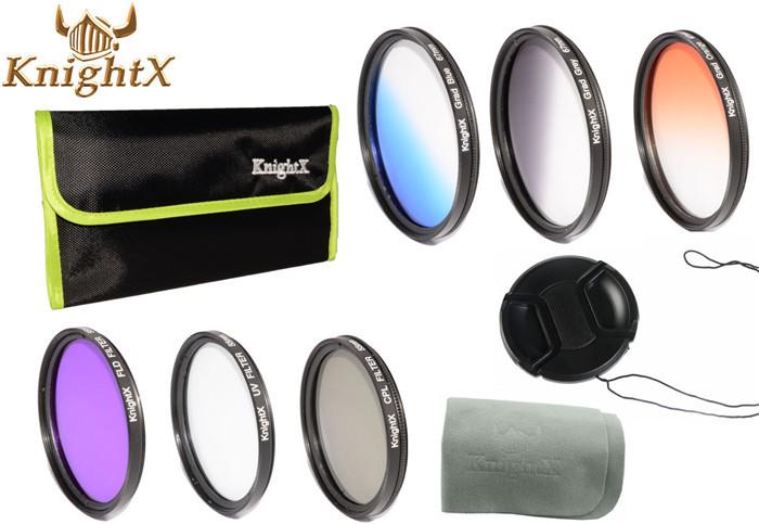 49mm UV CPL FLD Filter Kit Graduated Color Lens Filter Grey Orange ND set 2 bags for Sony NEX-5N NEX-5R NEX-6 NEX-7 KnightX(China (Mainland))