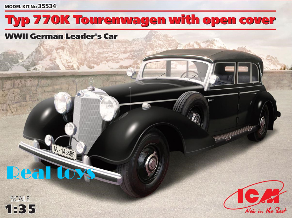 New Arrivial! ICM model 35534 1/35 Typ 770K Tourenwagen with open cover, WWII German Leader's Carplastic model kit(China (Mainland))