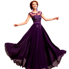 Chiffon Pearls Embroidery Sleeveless Women Formal Gowns Wedding Party Dresses Elegant Long Red A-Line Bridesmaid Dresses(China (Mainland))