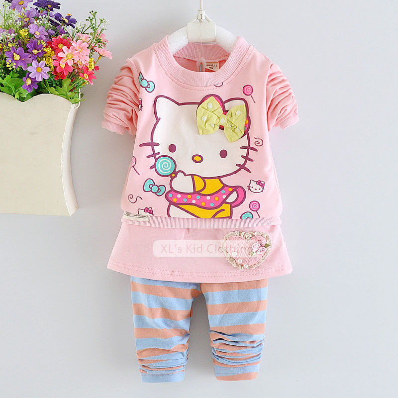 2015 New Spring autumn Hello Kitty baby girl clothes kids, toddler girl clothing sets 3-piece cartoon children clothing for girl(China (Mainland))