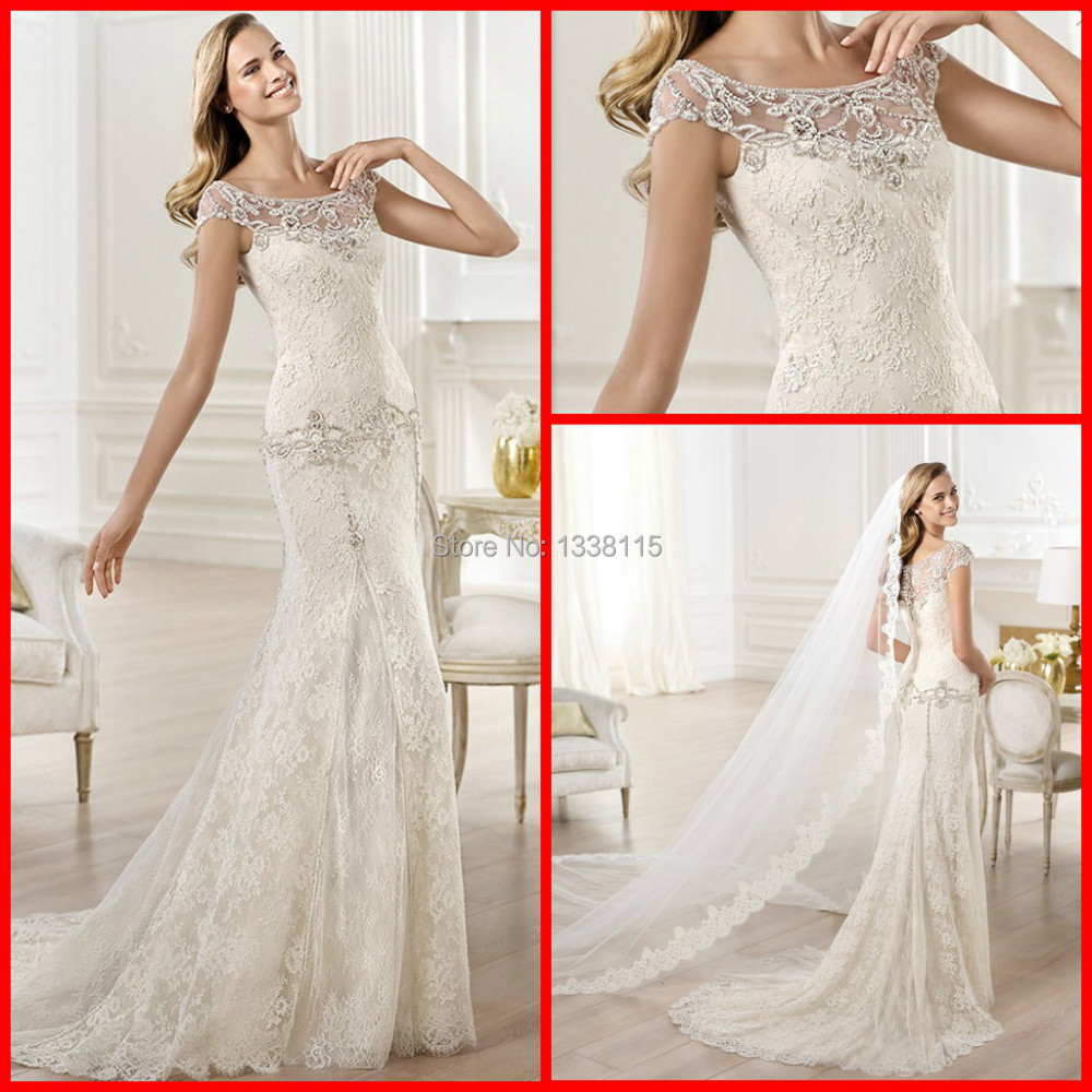 Elegant mermaid cap sleeve crystal diamond fitted lace for Diamond mermaid wedding dresses