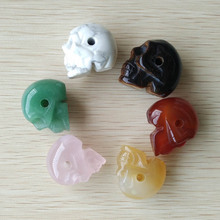Fashion top quality assorted natural stone carved skull head charms pendants fit necklace jewelry making  6pcs/lot  wholesale(China (Mainland))