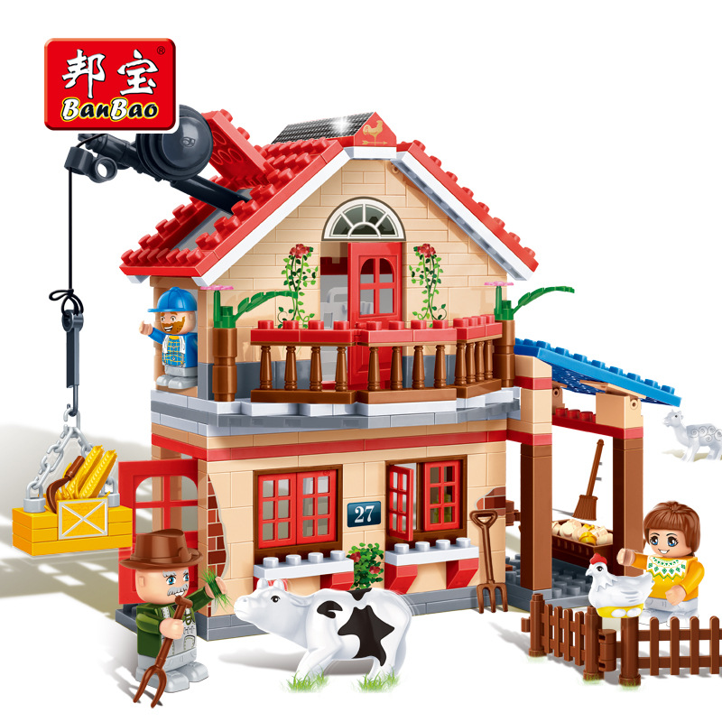 Banbao 8581 Animal Farm Building Block Sets 315pcs Educational Jigsaw DIY Construction Bricks toys for children(China (Mainland))