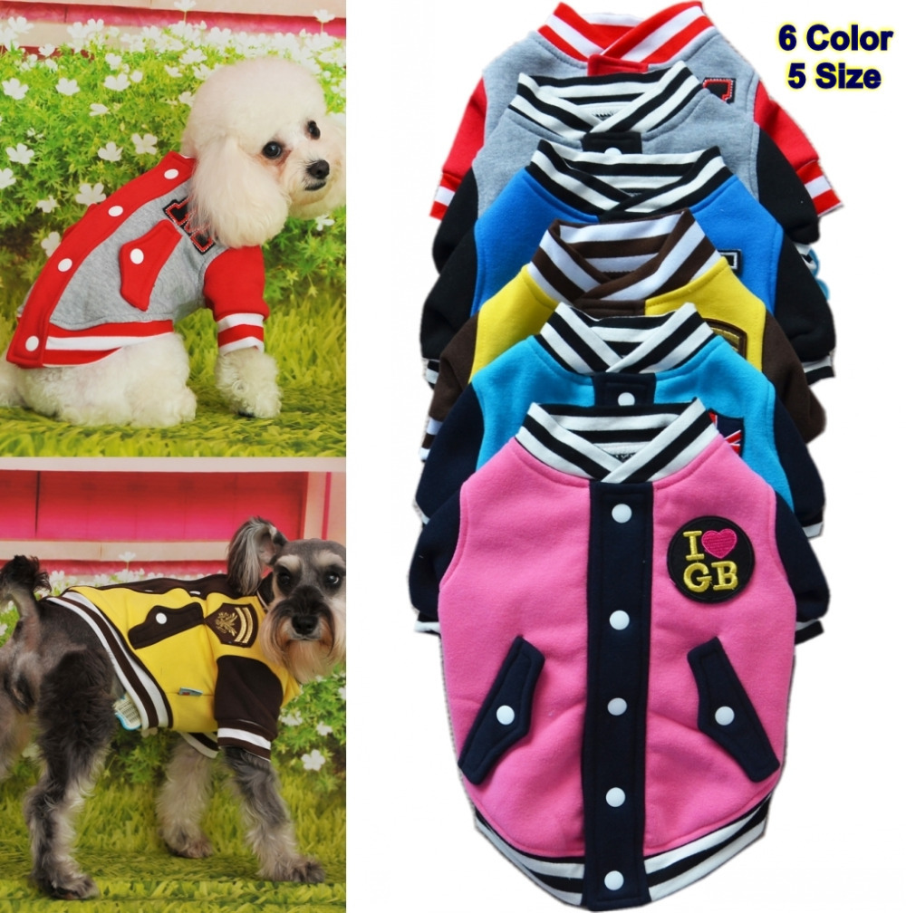 5pcs/Lot Spring Autumn Baseball Uniform Pet Dog Jacket Sport Cat Dog Coat Pet Puppy Outfit Clothes Pet Apparel(China (Mainland))