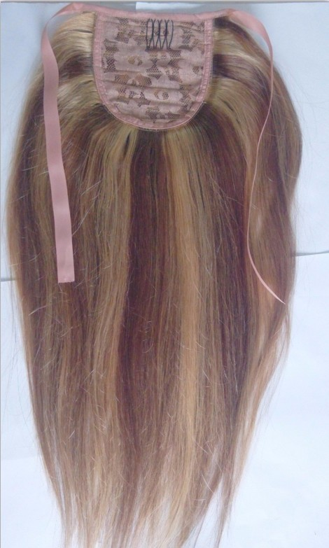 16-32inch Straight 130g Wrap-Around 1pc Ponytail  Human Hair  With Custom Length #04  Medium Brown Simple HairStyle for You
