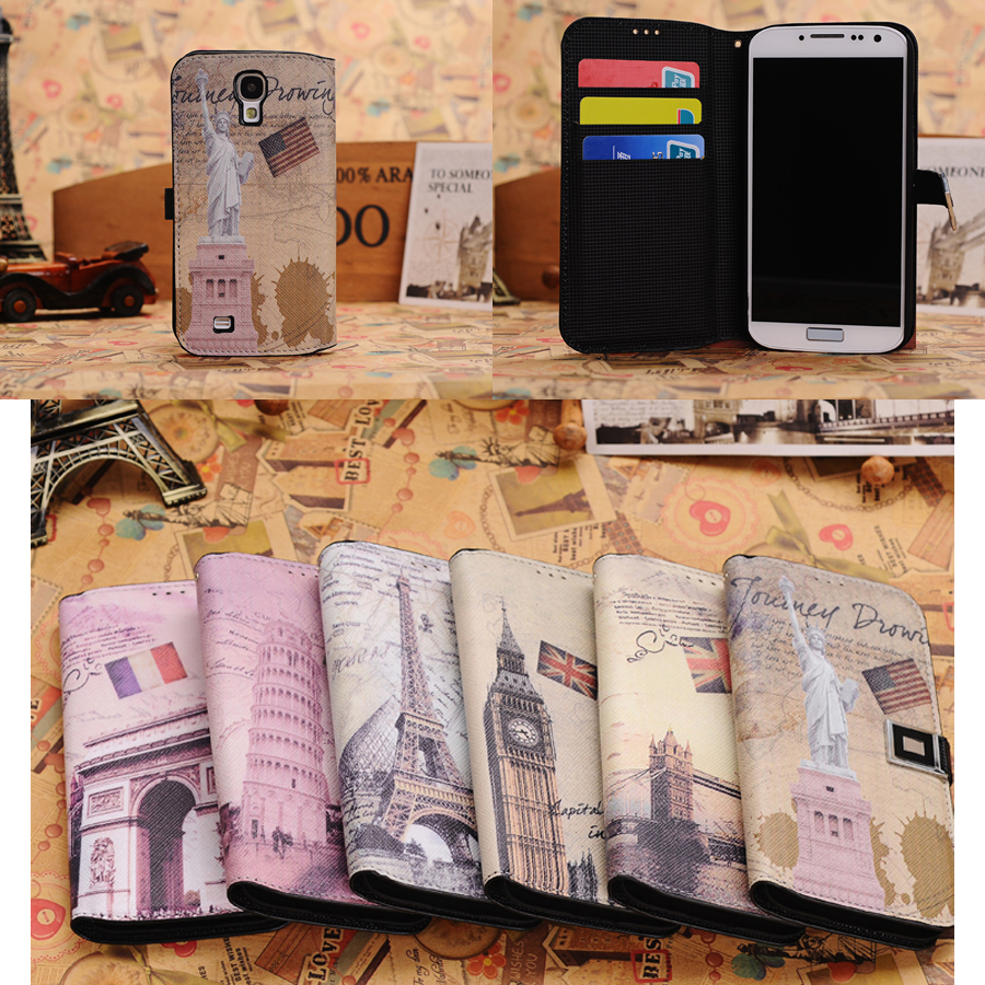 2014 New Retro Design Vintage World Travel Leather Wallet Flip Case for Galaxy S4 I9500 Statue of Liberty Pattern Skin CaseCover(China (Mainland))