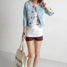 2016 Hot Sell Handsome Punk Female Small Round Collar Denim Jacket High Quality Vintage Women Autumn Spring Jacket