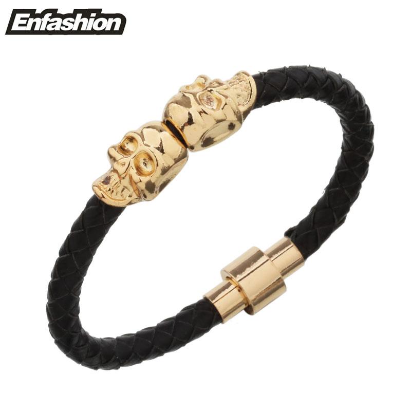 Hot Selling Fashion Braided Leather Bracelets Gold Plated Skull Bracelet Men Punk Wrap Bracelet Women Jewelry 2016(China (Mainland))