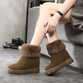 snow boots winter 2016 woman genuine leather solid warm winter snow boots height increase breathbale female