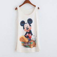 2016 New Mickey Printing Tank Tops camisole Summer Womens Sleeveless T Shirt Tee Vest cami Loose plus-size camisole tank MLS113(China (Mainland))
