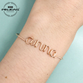 PINJEAS Custom Name Bracelet Gold Sterling Copper handmade DIY Wire Wrap Personalized letter Any Word Bangle