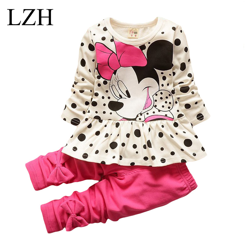 LZH Children Clothes 2017 Spring Autumn Kids Girls Clothes Set T-shirt+Pant Outfit Girls Sport Suit Toddler Girls Clothing Sets(China (Mainland))