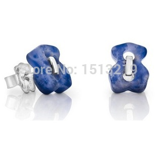 To.us bear Fashion earrings.Agate sterling silver jewelry Natural crystal .Holiday gift. Tousingly Freeshipping.(China (Mainland))