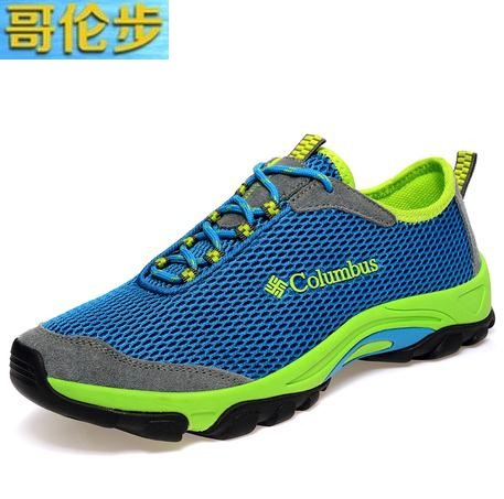 Columbus 2014 summer male man mesh breathable sports casual net fabric shoes sports shoes sneakers Outdoor hiking shoes sandals(China (Mainland))