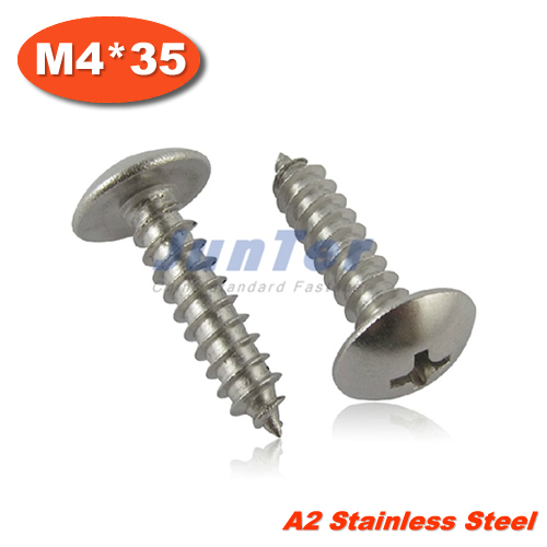 100pcs/lot M4*35 Stainless Steel A2 Phillips Truss Head (Cross Recessed Mushroom Head) Self Tapping Screws<br><br>Aliexpress