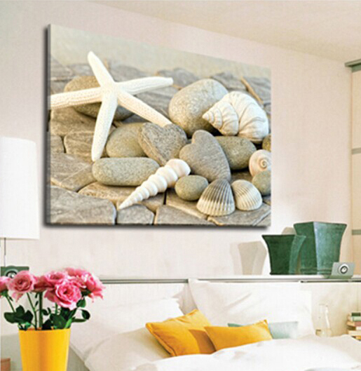 Shell Wall art Wall Pictures for Living Room Canvas Painting Starfish Picture Cuadros Decoration No Frame(China (Mainland))