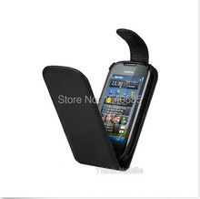 Wholesale BLACK PU LEATHER FLIP CASE COVER FOR NOKIA C7(China (Mainland))