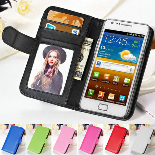PU Leather Case For Samsung Galaxy S2 SII i9100 Wallet Style Stand Phone Bag Cover Case For Samsung Galaxy S2 With Photo Frame(China (Mainland))