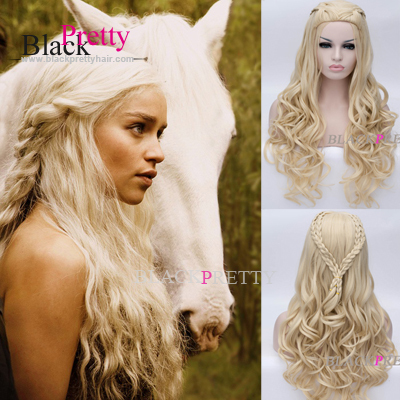 Movie Daenerys Wig Game Thrones Song Ice Fire Wigs Long Wavy Blonde Braid Cosplay Anime - Beauty In A Box store