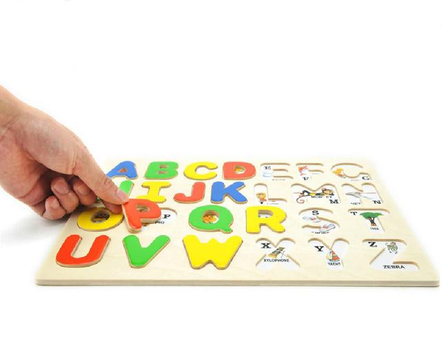 3D Letter Puzzle Colorful Alphabet Wooden Kids Educational Toy