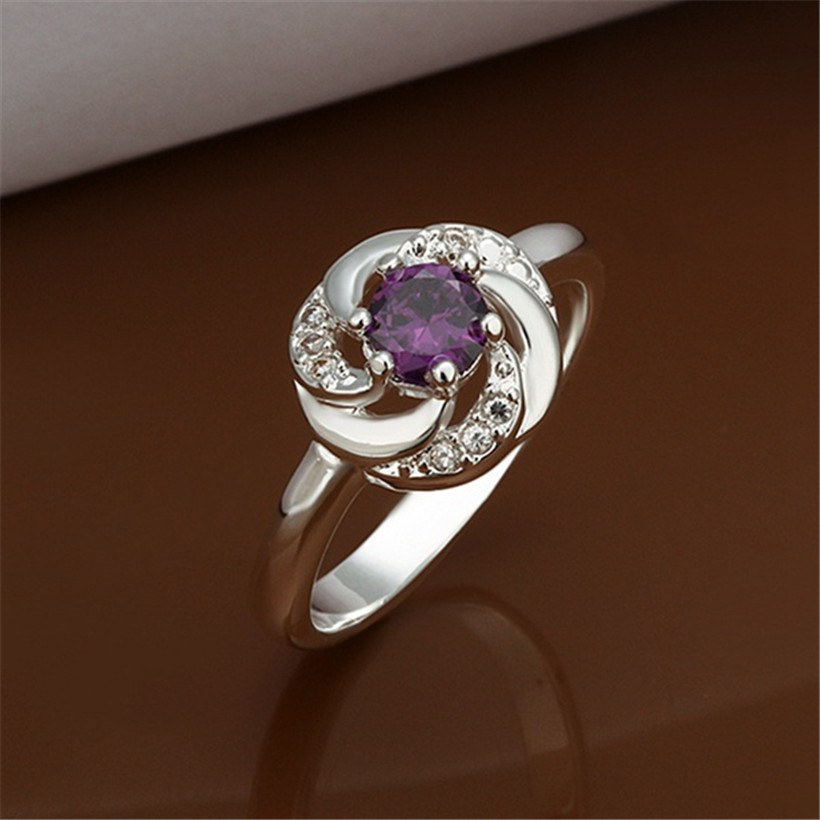 New simple factory wholesale silver plated accessories fashion Charm Women Crystal Engagement Ring(China (Mainland))