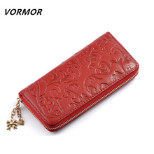 VORMOR Brand New Fashion Genuine Leather Clutch Bags Long Embossing Women Wallet Money Clips Female Big Purse(China (Mainland))