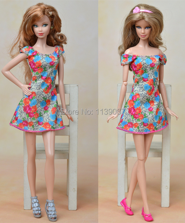 2015 New Design Authentic Floral Print Skirt Flower Occasion Robe Gown Garments Outfit For 1/6 Kurhn Barbie Doll Women Birthday Present