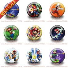 45pcs/lot Super Mario Hot Game Figures Pin Badge Buttons 3.0cm Backpack Accessories Cartoon badge(China (Mainland))