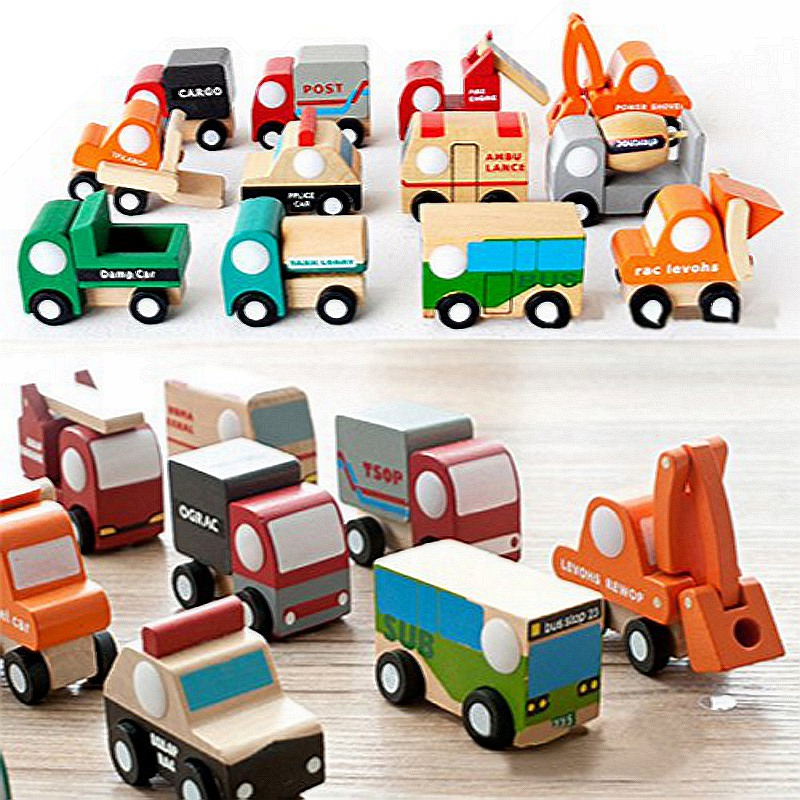 Dinky Toys 12pcs/Lot Wooden Scale Models Fire Truck Bus Camion Mini Car Model Toys Children Education Kid Dinky Toys(China (Mainland))