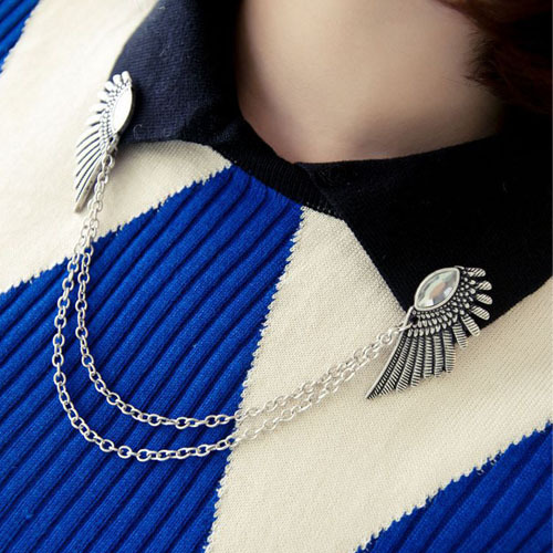 2 Piece Fashion Lovely Style Women Collar Brooches Angel Wing Sharp Link Chain Brooch prendedores Shirt Collar Jewelry Accessory(China (Mainland))