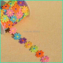 Patch Embroidered Lace Trimming ,5 Yards 25MM Width Rainbow Daisy Flower Lace Trim, Trim For Clothes Accessories(China (Mainland))