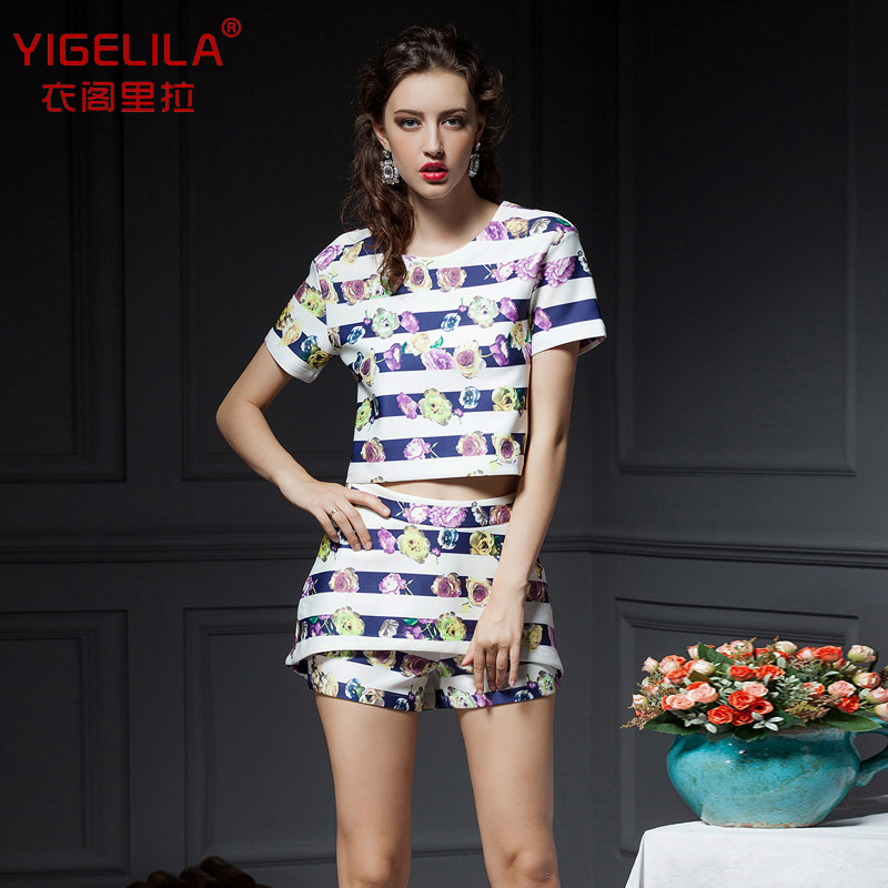 YIGELILA2014 summer new Europe and the major suit leisure short suit personality streaks printing short summer girl