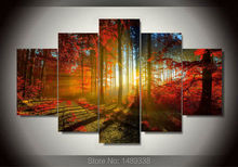 forest and sunset sunlight autumn red woods  5 Panel canvas print painting Modern Wall Art Home Decoration Living Room F/490(China (Mainland))