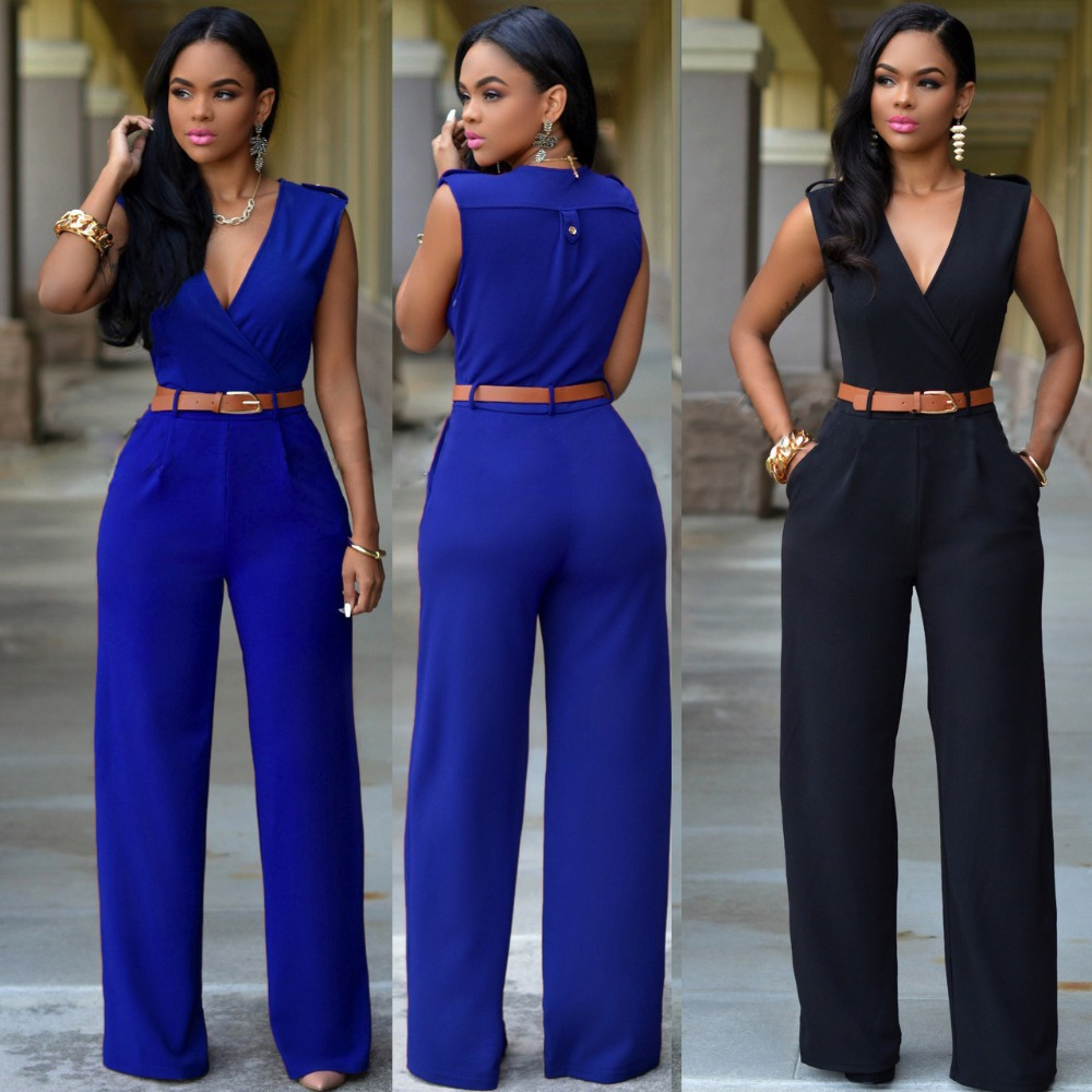 a46ba5072b7f 2016 New Loose Sexy European American brands Jumpsuit Ladies Slim V neck  Pocket Sleeveless Women full Length jumpsuit belts