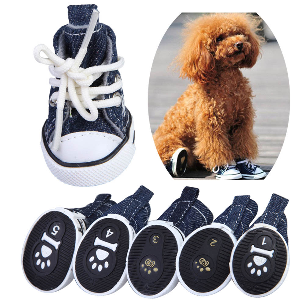 New 4 Pcs/Set Pet Dog Puppy Canvas Shoes Anti-Slip Sporty Boots for Teddy Chihuahua Pet Dog Grooming Products BHU2(China (Mainland))