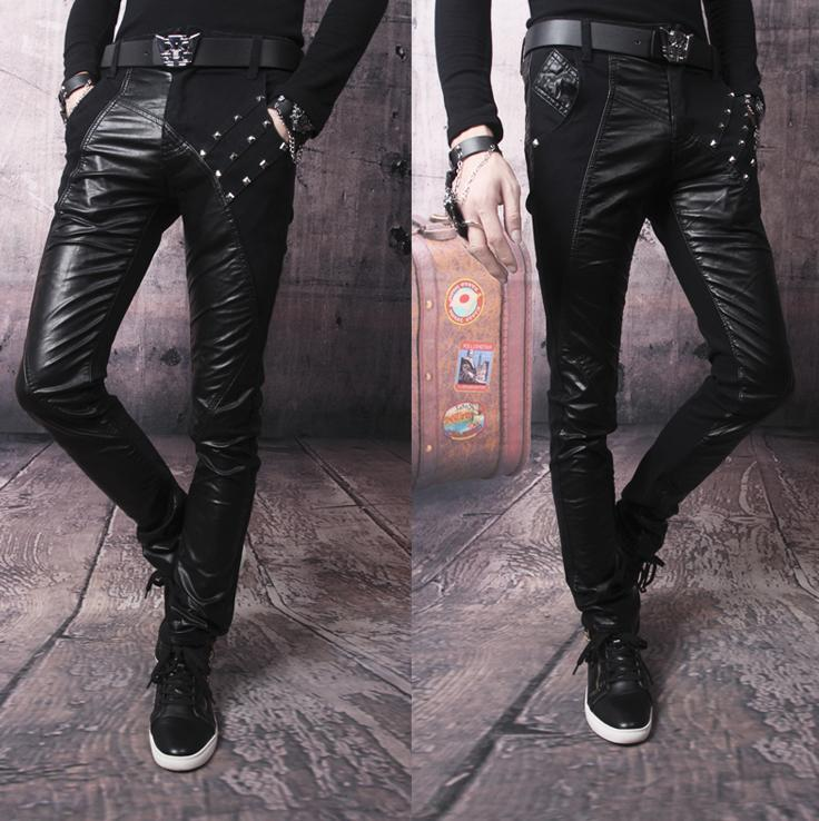 Black Rivets 1 pants men street splice leather pant slim mens thicken trousers pantalones hombre feet - Fashion clothes store wang
