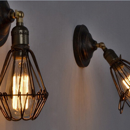 EDISON VINTAGE WALL LIGHT CHANDELIER Rustic Wire Cage Hanging Wall Light<br><br>Aliexpress