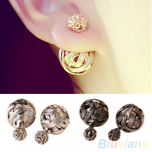 Women's Fashion Jewelry Double Sides Two Gold Plated Ball Hollowed Studs Earrings 2KOK - Beautiful life1 Store store
