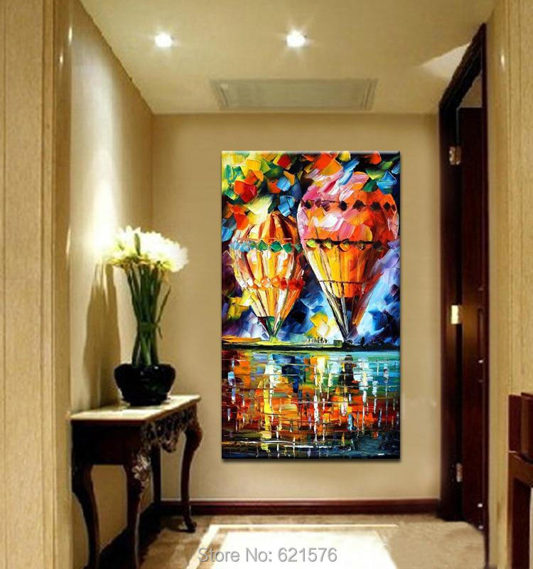 Hand painted big size modern wall art picture home decor hot air balloon thick palette knife - Wooden home decor to provide warm atmosphere ...