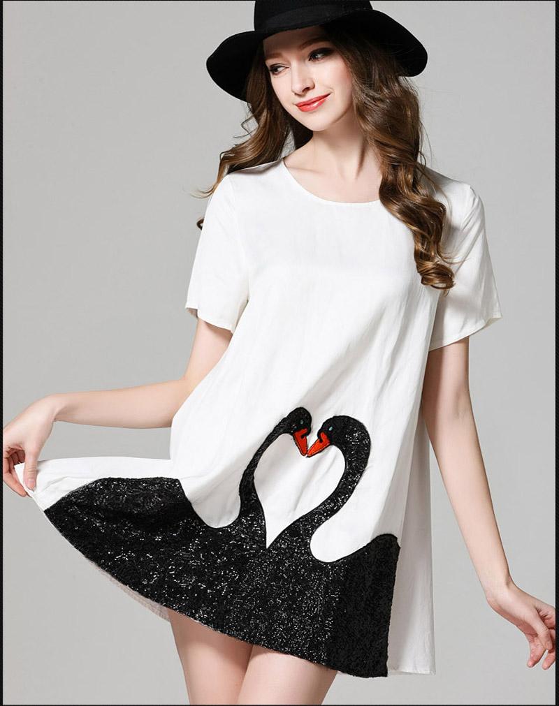 summer brand runway big large plus size 4xl 5xl silk cotton maxi dress women swans sequin sequined black white dresses zipper up(China (Mainland))