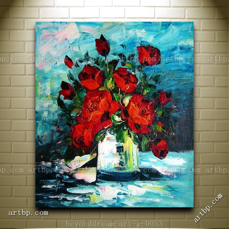 Knife Painted Deep Red Roses Oil Painting Impressionism Flower Still Life Canvas Painting Black Red And White Poster Free(China (Mainland))