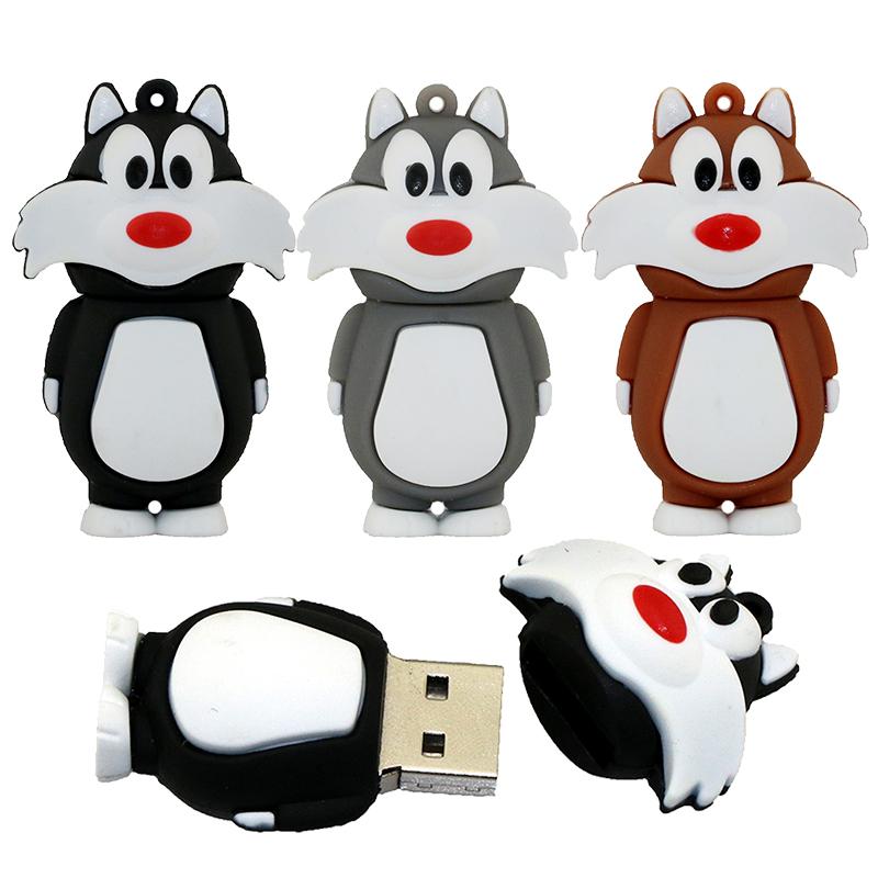 100% Real Capacity Lovely Cartoon Animal Wolf Pendrive 8GB/16GB/32GB USB Flash Drive Tom Cat Memory Stick Memoria Usb Disk(China (Mainland))