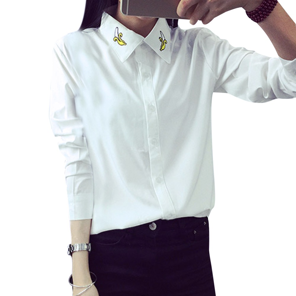 New 2014 Autumn Women White Blouse Turn-down Collar Long-sleeved Cute Banana Embroidery Blouses Shirt Tops Free shipping 5023Одежда и ак�е��уары<br><br><br>Aliexpress