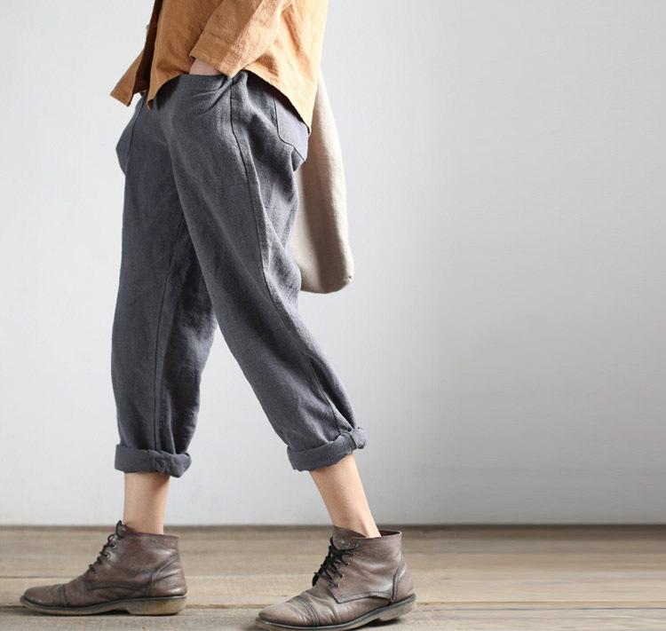 Model 2015 Womens Blebding Loose Pants Plus Size Mid Waist Loose Pants  Buy