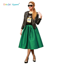 Colorful Apparel High Waist Skirt women's Long Fall Winter Jupe Midi Faldas Longa Skirts For Girls Kilt Workwear Skrit CA15A