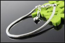 Free Shipping Silver Plated Bracelet Bangle Heart Penant Chain Snake Bracelets Fit Women Pandora Charm Bead DIY Jewelry SL596(China (Mainland))