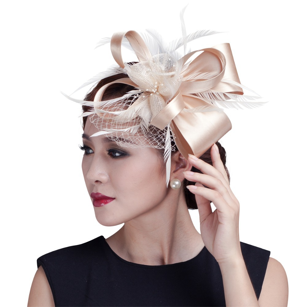 2015 women champagne feather flower Fascinator with bow ladies hair accessories wedding party floral headband(China (Mainland))
