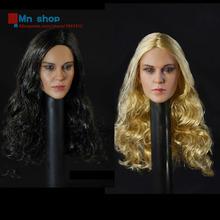 1/6 Blonde Hair Black Hair Beauty Head Sculpt Female Curly Hair Headplay For 12″ Action Figures Body Accessory DSTOYS D-004