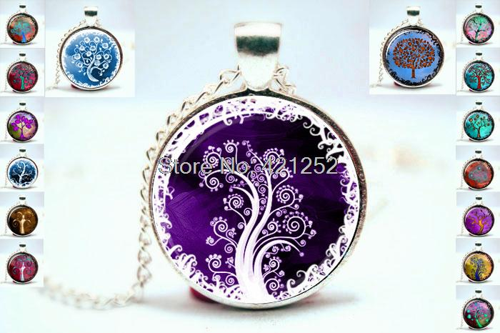 life tree chain necklace women necklace glass cabochon necklace pendant necklace art photo silver jewelry fashion 2015(China (Mainland))